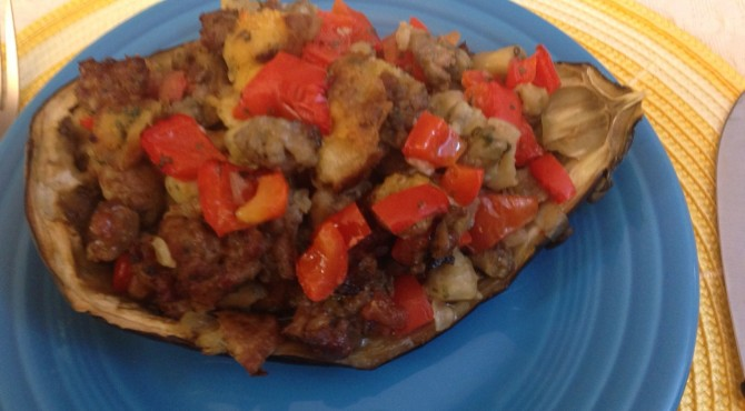 Italian Sausage Stuffed Eggplant